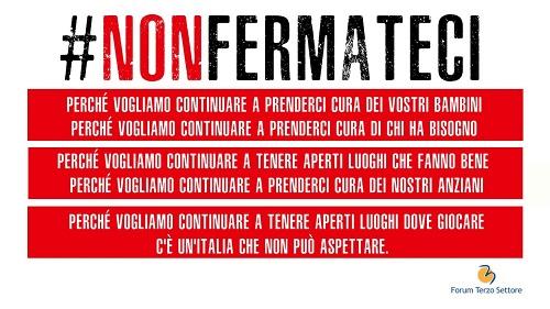 #nonfermateci campagna forum nazionale terzo settore
