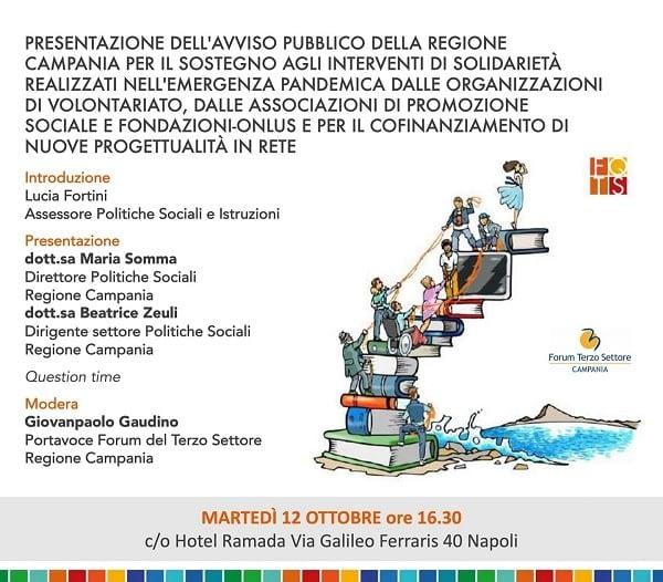 Solidarietà nella pandemia presentazione avviso pubblico Regione Campania